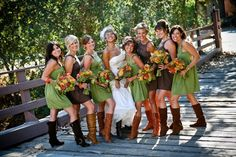 Flowers, Green, Dress, Orange, Brown, Shoes, Rustic, Canyon, Matthew morgan photography, Adam, Hope, Southern weddings, Bridemaids boots, Trabuco canyon