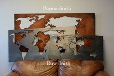 Große Weltkarte 24 X 50 Patina Weltkarte von TwistedRAWDesigns