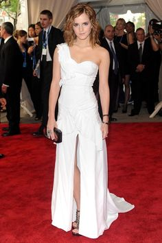 Emma Watson wore a bespoke Burberry gown to the Costume Institute Gala in New York.