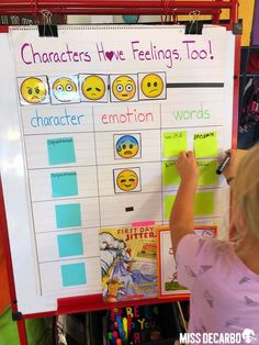 Interactive anchor chart for character emotions and the words or phrases that helped us identify the character's emotions - Learn all about difference between anchor charts and posters, and get FREE printables and graphic organizers that go wtih the ancho Anchor Charts First Grade, Kindergarten Anchor Charts, Reading Anchor Charts, Kindergarten Literacy, Preschool, Montessori Math, Montessori Materials, Reading Strategies, Reading Comprehension
