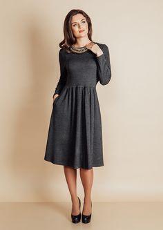 Купить серое женское платье с длинным рукавом   Серые платья