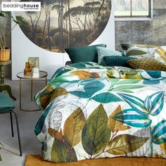 Amazonia Green Cotton Sateen Quilt Cover Set