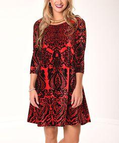 Black & Red Damask Velvet Shift Dress