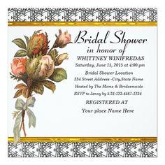 Tastefully Bridal Shower Black Flower Customized Invitation Card
