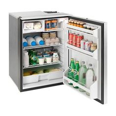 CRUISE refrigerator, is equipped with a fan cooled compressor and freezer compartment. Is has three shelves and interior light, drawer for vegetables and door divided into three compartments. Fan cooled compressor and air vents positioned on the top. Diy Van Conversions, Conversion Van, Motor Cruiser, Volume And Capacity, Camper Hacks, Stainless Steel Doors, Refrigerator Freezer, Mini Fridge, Black Doors