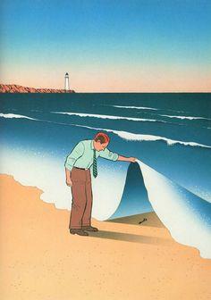 Con l'utilizzo di linee pulite e colori tenui Billout illustra per lo più uomini in situazioni assurde al limite del ridicolo.