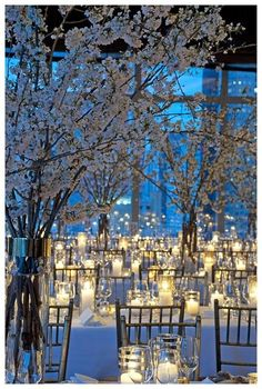 Wedding Reception Decor--White Cherry Blossoms and Candlelight