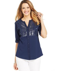 Style&co. Petite Embroidered Button-Front Blouse