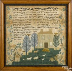 Silk on linen sampler, dated 1816, probably New Jersey, wrought by Sarah Hopkins, b. 1799 - Price Estimate: $1500 - $2500