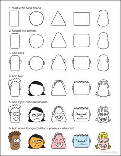 How to Draw Cartoon Faces Art Projects for Kids: How to Draw Cartoon Faces. I love this for story illustrations! It will help students move past faceless stick figures. Drawing Lessons, Art Lessons, Drawing Tips, Drawing Ideas, Drawing Cartoon Faces, Cartoon Head, Drawing Cartoons, Cartoon Art, How To Draw Cartoons