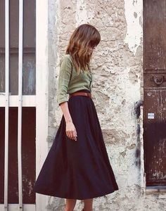 Don't store your skirts for fall! A midi skirt is a great length to pair with booties and a button down.
