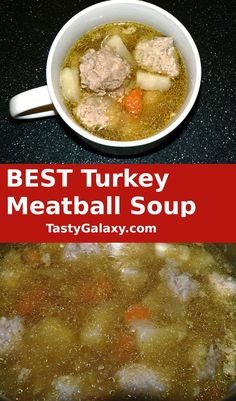 BEST Turkey Meatball Soup is so delicious! Healthy ground turkey meatball soup is amazing, and so easy to make. Your family will love this turkey meatball soup, that takes just 15 minutes to prep #soup #turkey #soup