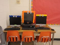 Classroom decoration ideas! Blog post with fun, easy ways to brighten up your classroom.  Decorate your computers, paint the walls or just switch from boring chalk to liquid chalk...