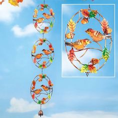 Harvest Colorful Glass Birds and Delightful Bell Dangler Hanging Chain Decor #GardenStake #Adorable #Dog #Silhouette #YardStake #Lights #SolarPowered #Sparkling #DoorDecor #YardDecor #Stake #GardenDecor #Outdoor #HomeDecor