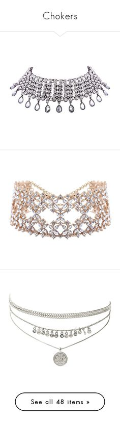 """""""Chokers"""" by lynn-grimm ❤ liked on Polyvore featuring jewelry, necklaces, wide choker, rhinestone jewelry, rhinestone necklace, party necklaces, choker jewelry, choker jewellery, rhinestone choker and choker"""