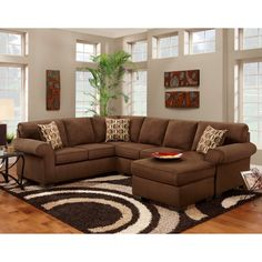Sofa Trendz Cree Chocolate Brown Polyester Blend Sectional/Chaise Sleeper  Sofa (Cree Sectional