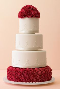 Mark Joseph red rose wedding cake; Iike the simple dot trim