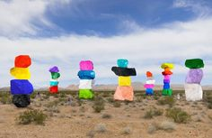 """Ugo Rondinone's """"Seven Magic Mountains"""" installation features bright limestone boulders, located off the Vegas strip"""