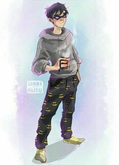 Dick Grayson love it when the batboys rock their own merch Nightwing, Batwoman, Batgirl, Robin Dc, Batman Robin, Dc Comics, Richard Grayson, Bat Boys, Batman Family