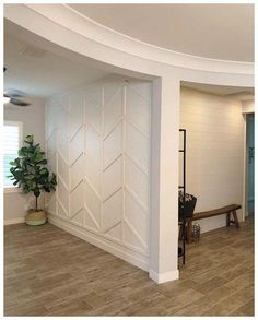 Wood wall treatments - Modern Walls - Wood design - Wood wall accents - Wood paneling - Herringbone Tired of sticking to boring painted walls or wallpaper? Try accenting your space with wood wall treatments that you can do yourself! Home Renovation, Home Remodeling, Home Interior, Interior Design, Interior Walls, Interior Ideas, Diy Wood Wall, Wall Treatments, Treatment Rooms