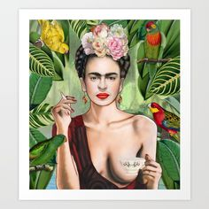 Frida Kahlo, tropical, ethno, woman, painting, drawing, mexico, botanical, floral