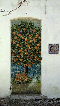 Orange tree door