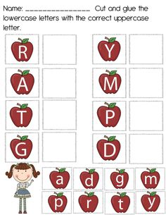 The Crazy Pre-K Classroom: Apples! for I's lesson plan. upper case and lower case letter recognition. This is a good way for students to work on their fine motor skills by cutting the letters and matching the upper case to the lowercase letters. Apple Activities, Pre K Activities, Alphabet Activities, Classroom Activities, Classroom Ideas, Alphabet Crafts, Learning Activities, Preschool Lesson Plans, Preschool Learning