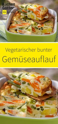 Vegetarischer bunter Gemüseauflauf Our vegetarian vegetable casserole brings variety to the everyday kitchen. Depending on the season or stock, you can always modify the recipe. Salmon Recipes, Potato Recipes, Lunch Recipes, Vegetable Recipes, Vegetarian Recipes, Healthy Recipes, Healthy Snacks, Vegetable Casserole, Vegetable Dishes