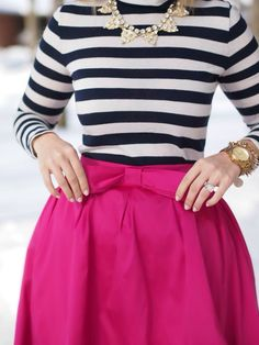 Stripe shirt and bow skirt