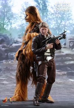 Hot Toys Highly detailed action figures from Star Wars it's Han Solo and Chewbacca. From the Force Awakens.