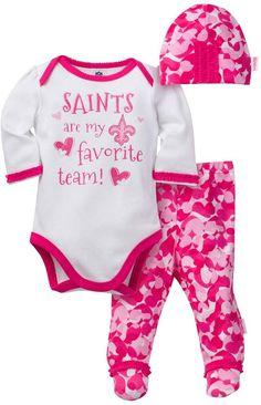 206b89b3f60 Baby Girl New Orleans Saints 3-Piece Bodysuit