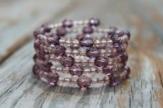 Memory Wire Bracelet Lavender and Pink by MichelesAManoDesigns