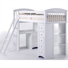 """NE Kids Loft School House Student Loft Bed - Home Furniture Showroom, another great design but I can't see over budgeting the project for something that is going to be """"outgrown"""" Loft Bunk Beds, Bunk Bed With Desk, Bunk Beds With Stairs, Kids Bunk Beds, Bedroom Loft, Kids Bedroom, Bedroom Ideas, Girls Bedroom With Loft Bed, Attic Bedrooms"""