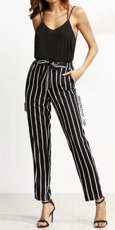 Black Vertical Striped Self Tie Pants