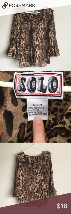 Women's Sheer Animal Print Blouse Button Front Measurements Taken with Garment Lying Flat: Bust 42 Inches (Measured Across then Doubled) Waist 41 Inches (Measured Across then Doubled) Length 27.75 Inches  Gently Used - No Flaws Found Upon Inspection and Photographing - See Photos  Smoke Free, Pet Friendly solo Tops Blouses