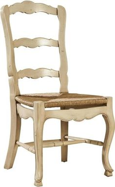 Pair New French Country Dining Chairs Hand-Carved Mahogany Ladderback White/Cream