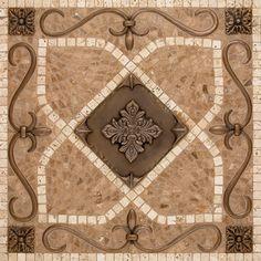 Renaissance Mosaic Tile Backsplash Medallion mesh mounted Featuring the Renaissance Deco, Pandora and Intarsia Single Liner shown in bronze, highlight polish with light travertine and noche Tuscan Design, Tuscan Style, Mosaic Backsplash, Mosaic Tiles, Travertine Backsplash, Marble Mosaic, Tiling, Mosaic Art, Sweet Home