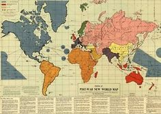 Mosaic map world map poster 1942 post war rare hot vintage gumiabroncs Images