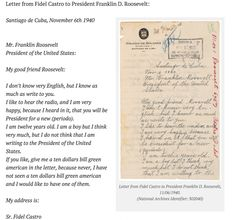 As a 14-year old, Fidel Castro congratulated FDR on his re-election in 1940.