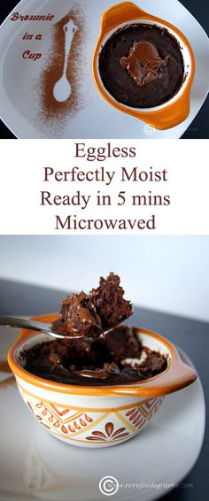 A eggless microwaved Brownie, which is hassle free to make and ready in less than 5 mins.