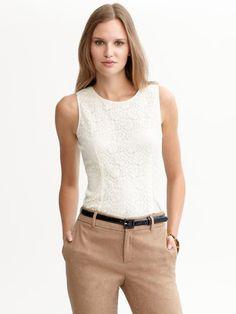 Banana Republic ivory lace shell blouse