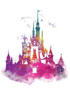 Magic Kingdom Art Print by Monn Print - เจ้าหญิงดิสนีย์ - Disney Watercolor Disney, Watercolor Print, Disney Tattoos, Arte Disney, Disney Pixar, Chateau Disney, Disney World Castle, Disney Castle Logo, Disney Magie