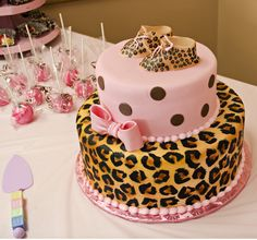 Charming Cheetah And Pink Baby Shower Cake   Need To Contact Erica For Pricing On  This