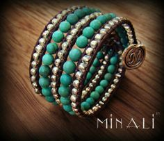 Azure - Turquoise & Silver Leather Cuff Bracelet