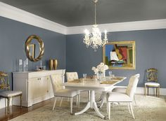 WALL COLOR Benjamin Moore Paint Colors - Blue Dining Room Ideas - Silvery Soft Dining Room - Paint Color Schemes . . . Walls - Wolf Gray (2127-40); Ceiling - Kendall Charcoal (HC-166); Trim - White Dove (OC-17).