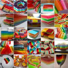 gelatina de colores.