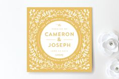 Floral Frame Square Wedding Invitations by Lori Wemple at minted.com