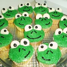 Frog Cupcakes - Allrecipes.com made these earlier for a Leap Day party :) used my own frosting recipe but otherwise followed, it was easy and cute result