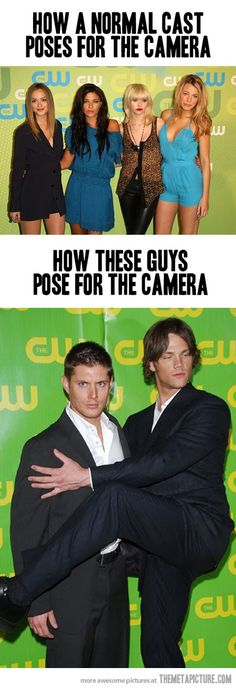 you see they are not normal sam cant exclude his lovely butt from the picture and dean can leave behind his face so....