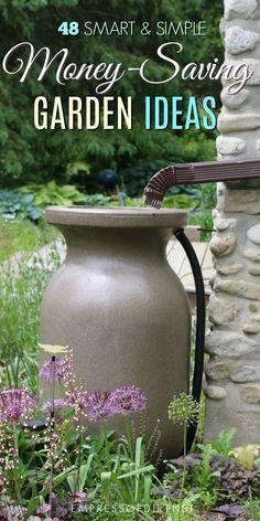 48 Smart, money-saving garden ideas for organic gardeners. #gardening #frugal #gardentips #moneysaving #organicgardening #empressofdirt
